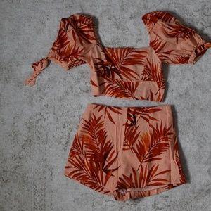 Forever 21 Floral Crop Top & Shorts Set